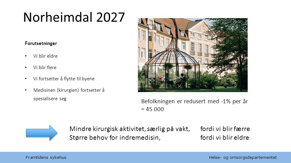Norheimdal 2027 Forutsetninger. Vi blir eldre. Vi blir flere. Vi fortsetter å flytte til byene.