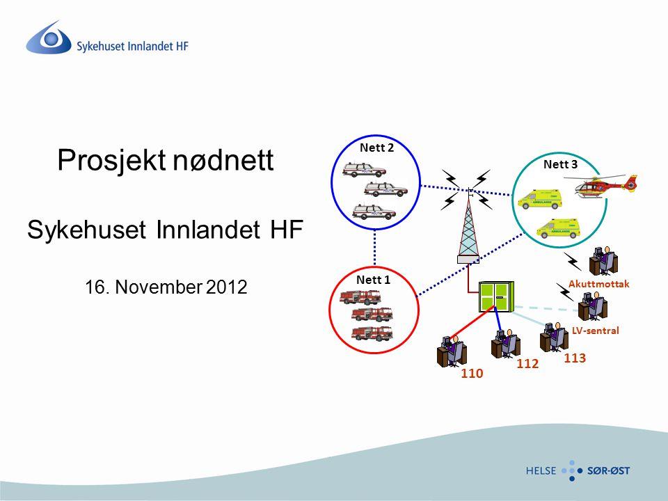 Prosjekt nødnett Sykehuset Innlandet HF 16. November 2012