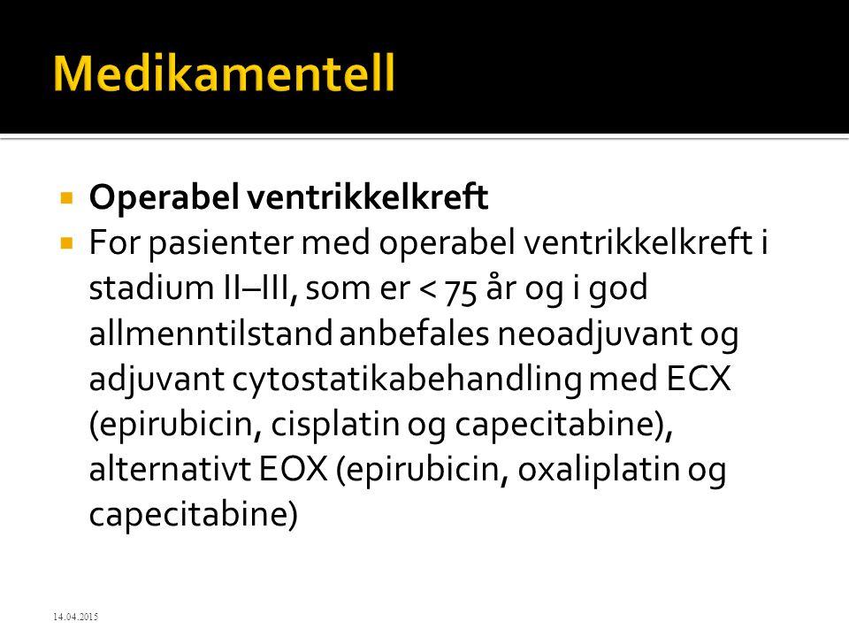 Medikamentell Operabel ventrikkelkreft