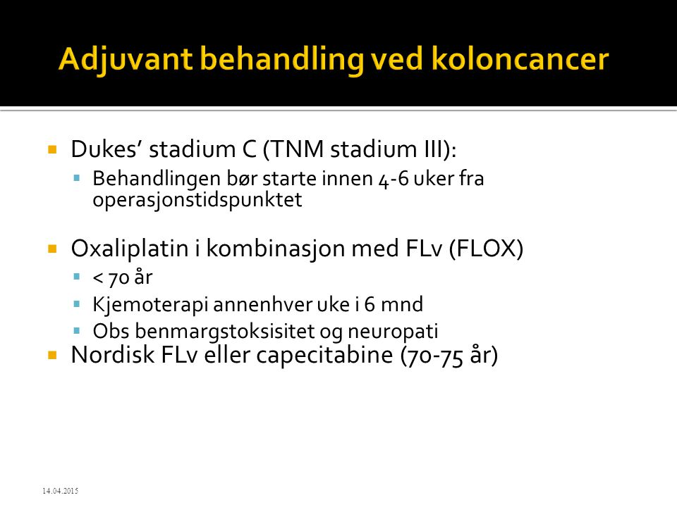 Adjuvant behandling ved koloncancer
