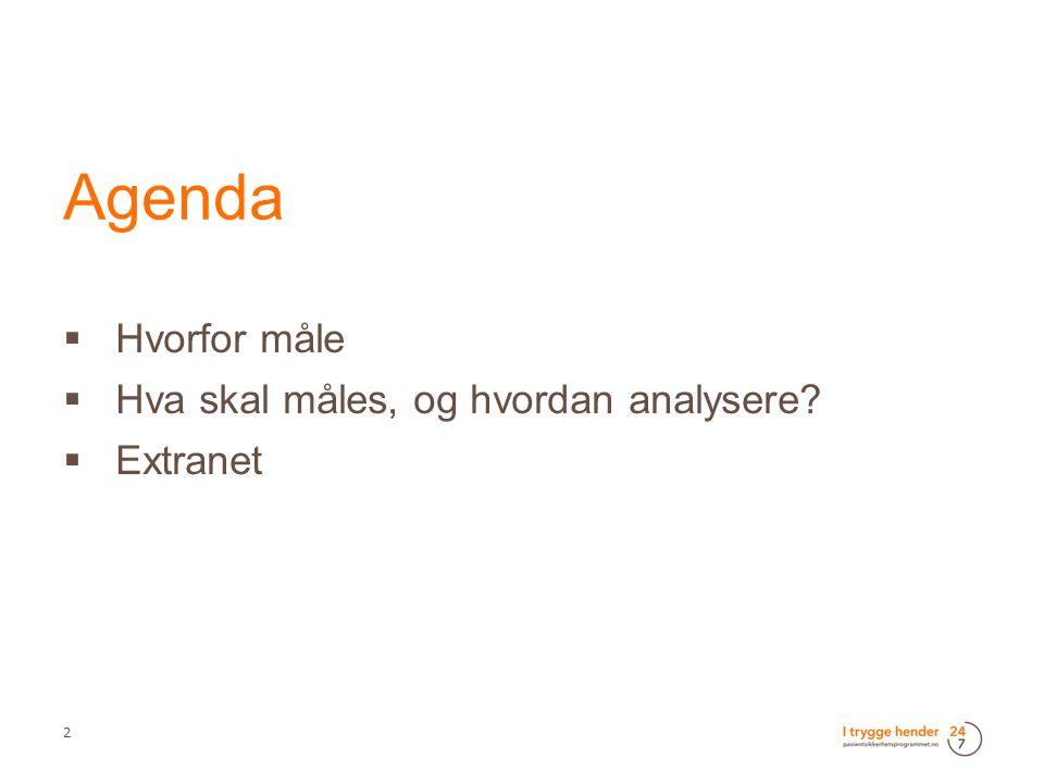 Agenda Hvorfor måle Hva skal måles, og hvordan analysere Extranet