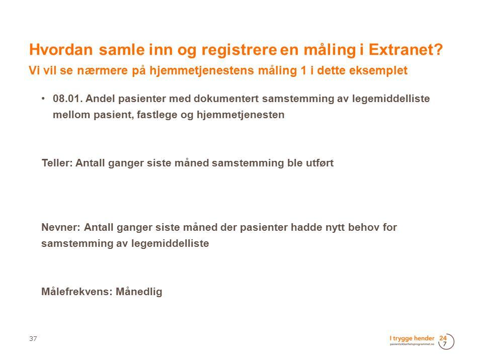 Hvordan samle inn og registrere en måling i Extranet