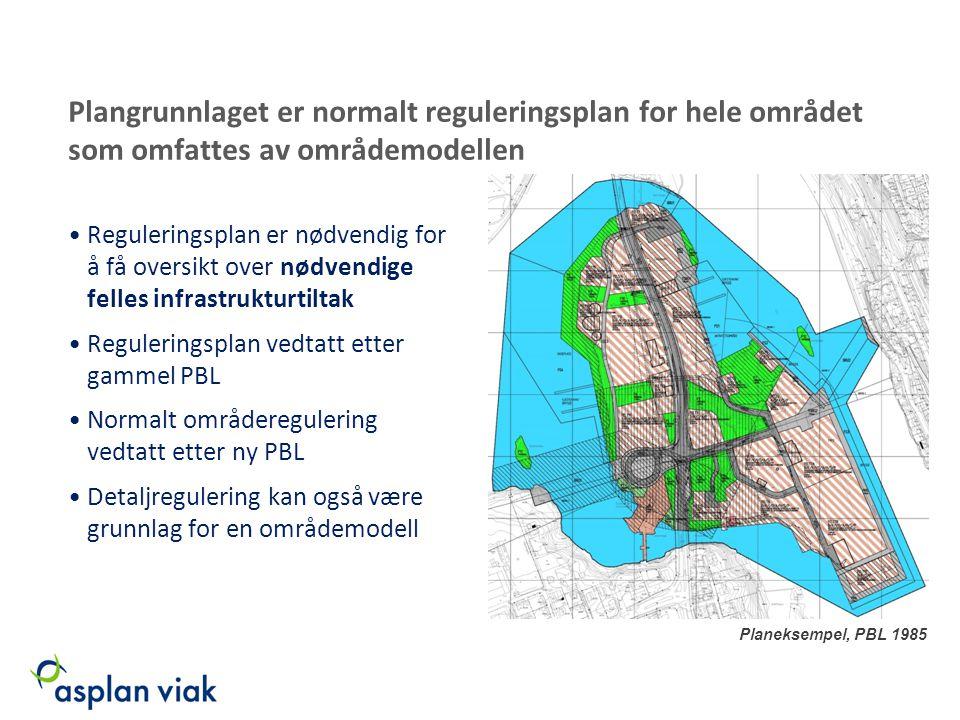 Plangrunnlaget er normalt reguleringsplan for hele området som omfattes av områdemodellen