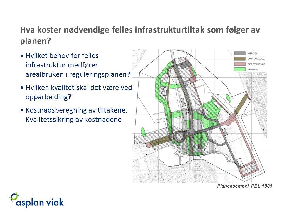Hva koster nødvendige felles infrastrukturtiltak som følger av planen
