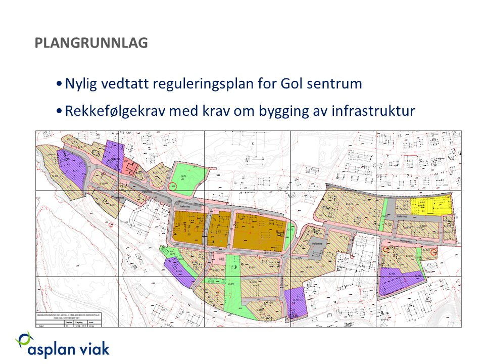 PLANGRUNNLAG Nylig vedtatt reguleringsplan for Gol sentrum.