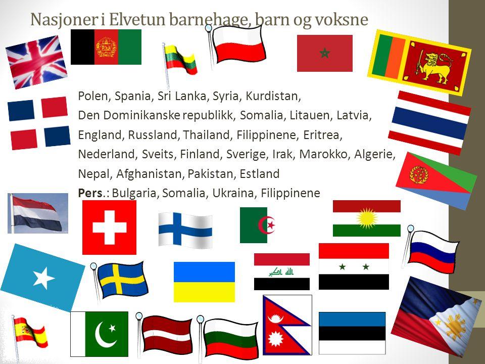 Nasjoner i Elvetun barnehage, barn og voksne