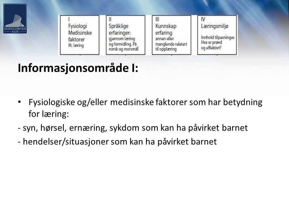 Informasjonsområde I: