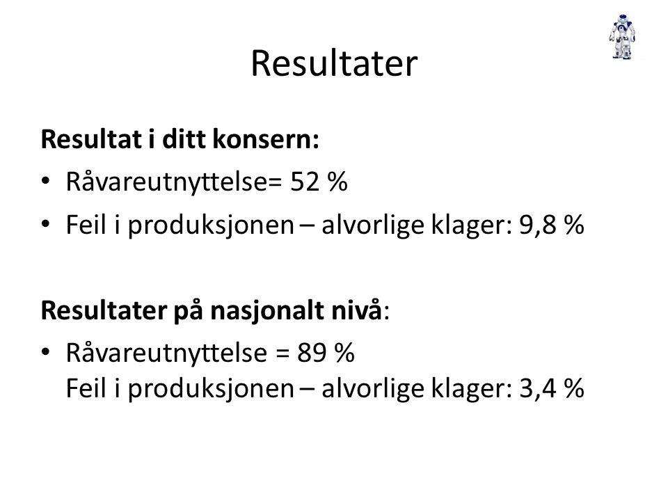 Resultater Resultat i ditt konsern: Råvareutnyttelse= 52 %