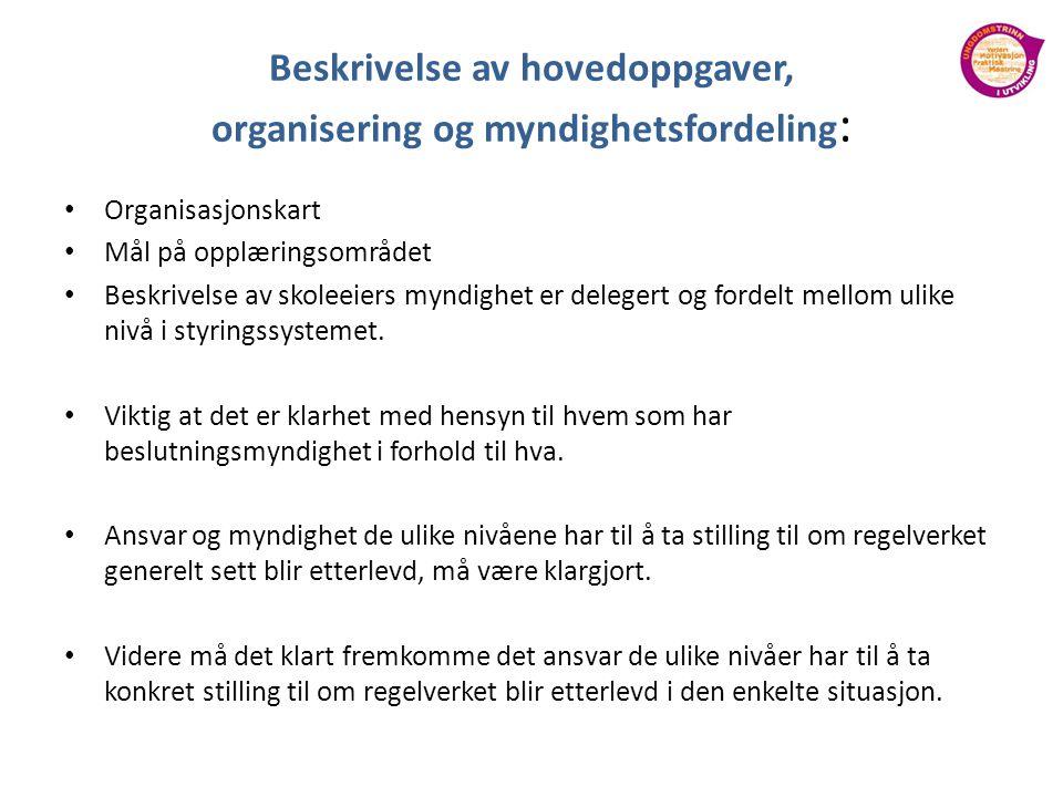 Beskrivelse av hovedoppgaver, organisering og myndighetsfordeling: