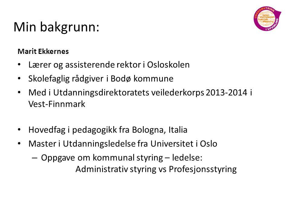 Min bakgrunn: Lærer og assisterende rektor i Osloskolen