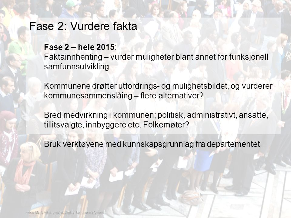 Fase 2: Vurdere fakta Fase 2 – hele 2015: