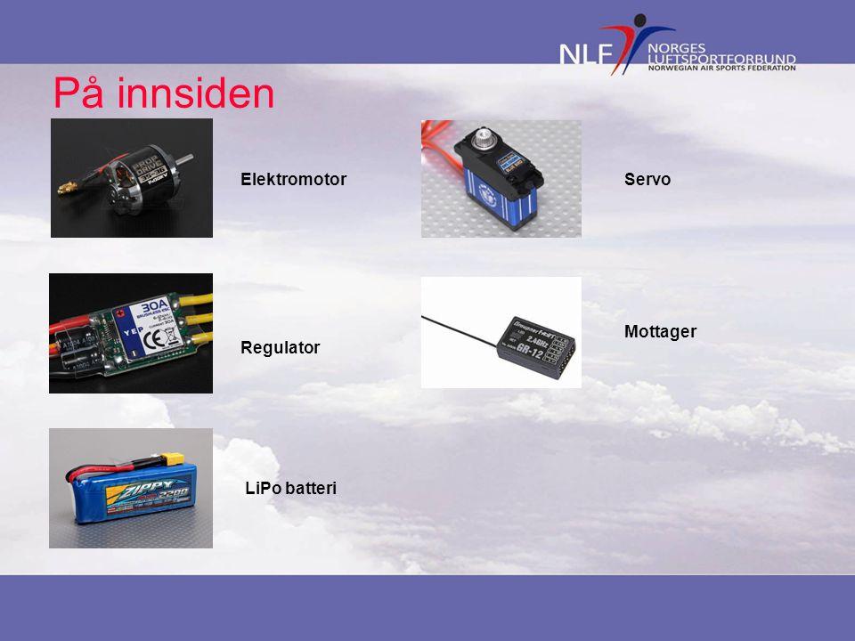 På innsiden Elektromotor Servo Mottager Regulator LiPo batteri