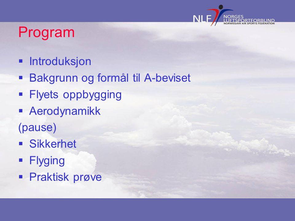 Program Introduksjon Bakgrunn og formål til A-beviset