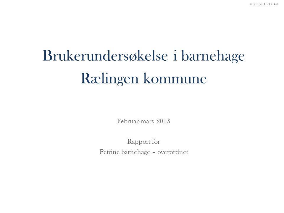 Brukerundersøkelse i barnehage Rælingen kommune