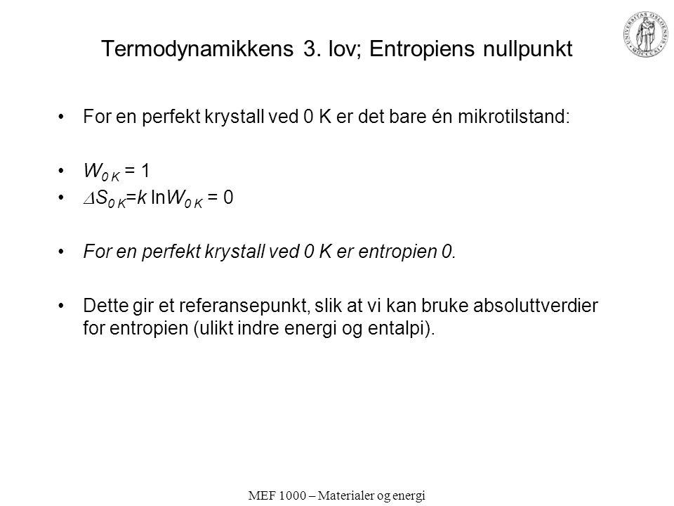 Termodynamikkens 3. lov; Entropiens nullpunkt