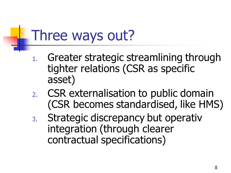 Three ways out Greater strategic streamlining through tighter relations (CSR as specific asset)