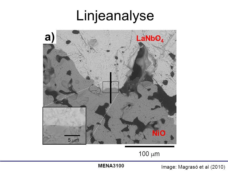 Linjeanalyse a) LaNbO4 NiO 100 m 5 m MENA3100
