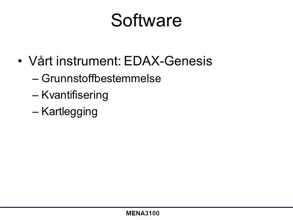 Software Vårt instrument: EDAX-Genesis Grunnstoffbestemmelse