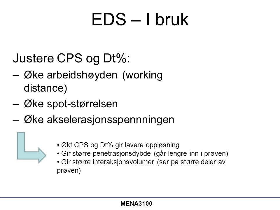 EDS – I bruk Justere CPS og Dt%: Øke arbeidshøyden (working distance)
