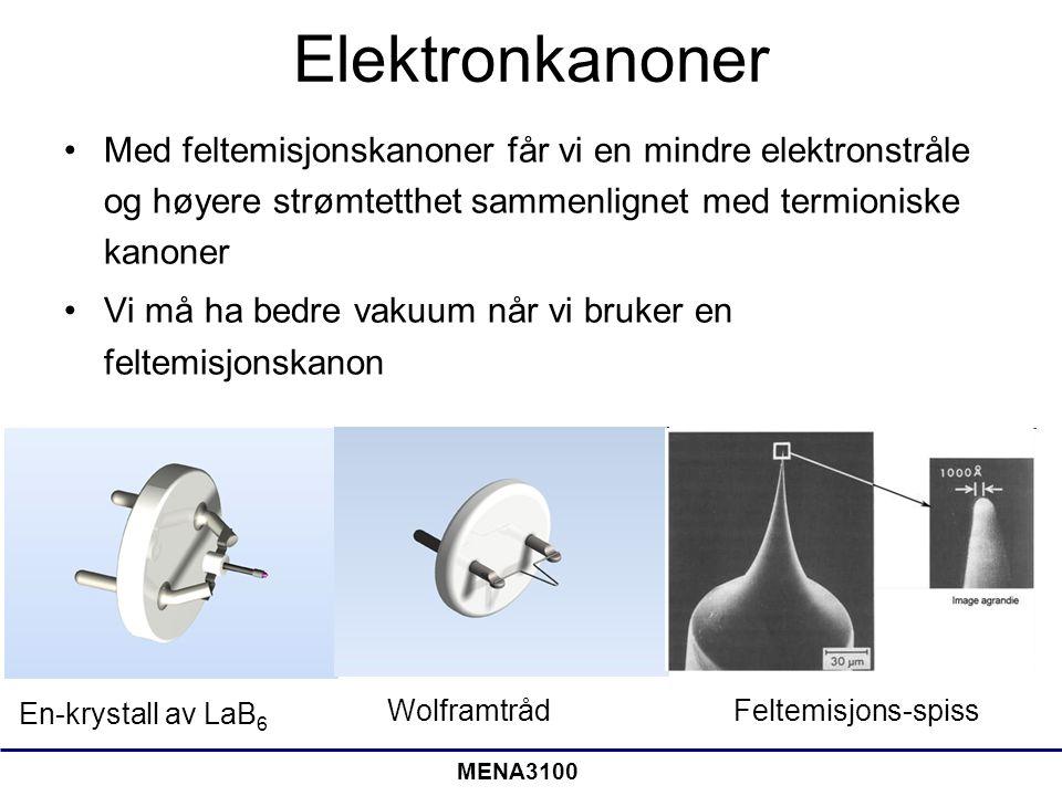 Elektronkanoner Med feltemisjonskanoner får vi en mindre elektronstråle og høyere strømtetthet sammenlignet med termioniske kanoner.