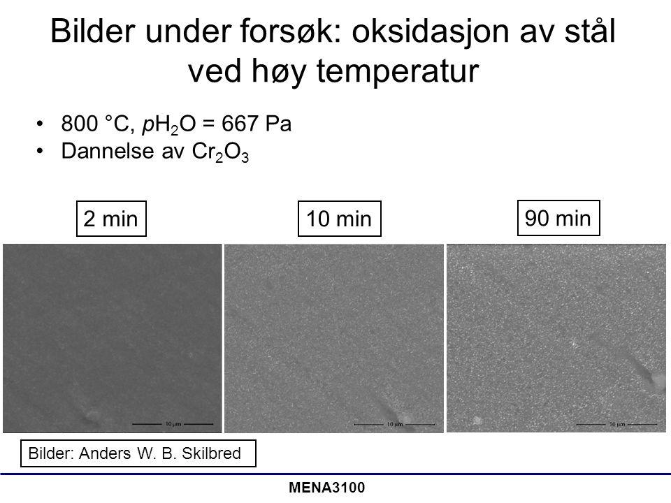 Bilder under forsøk: oksidasjon av stål ved høy temperatur