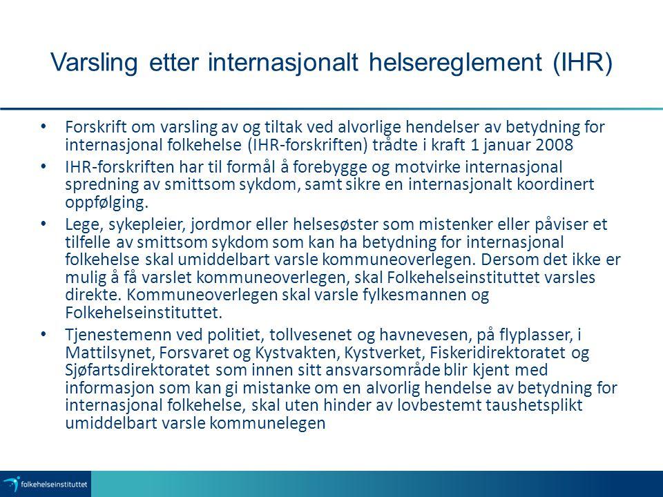 Varsling etter internasjonalt helsereglement (IHR)