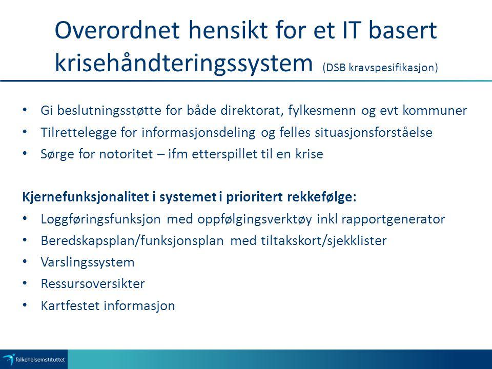 Overordnet hensikt for et IT basert krisehåndteringssystem (DSB kravspesifikasjon)