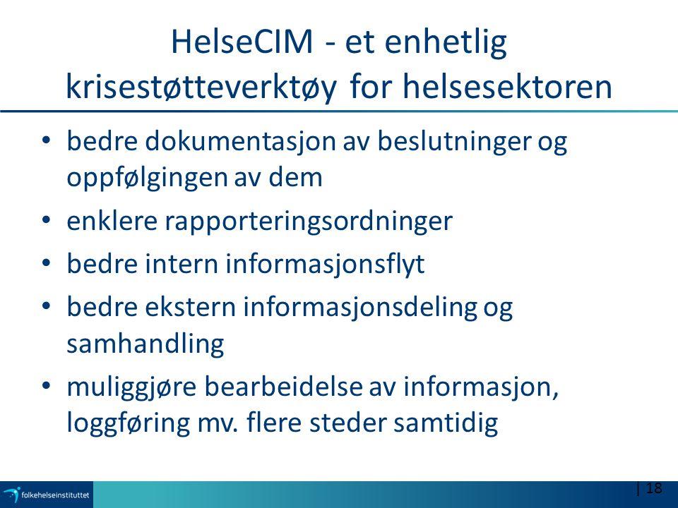 HelseCIM - et enhetlig krisestøtteverktøy for helsesektoren