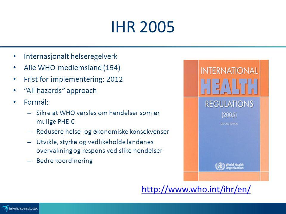 IHR 2005 http://www.who.int/ihr/en/ Internasjonalt helseregelverk