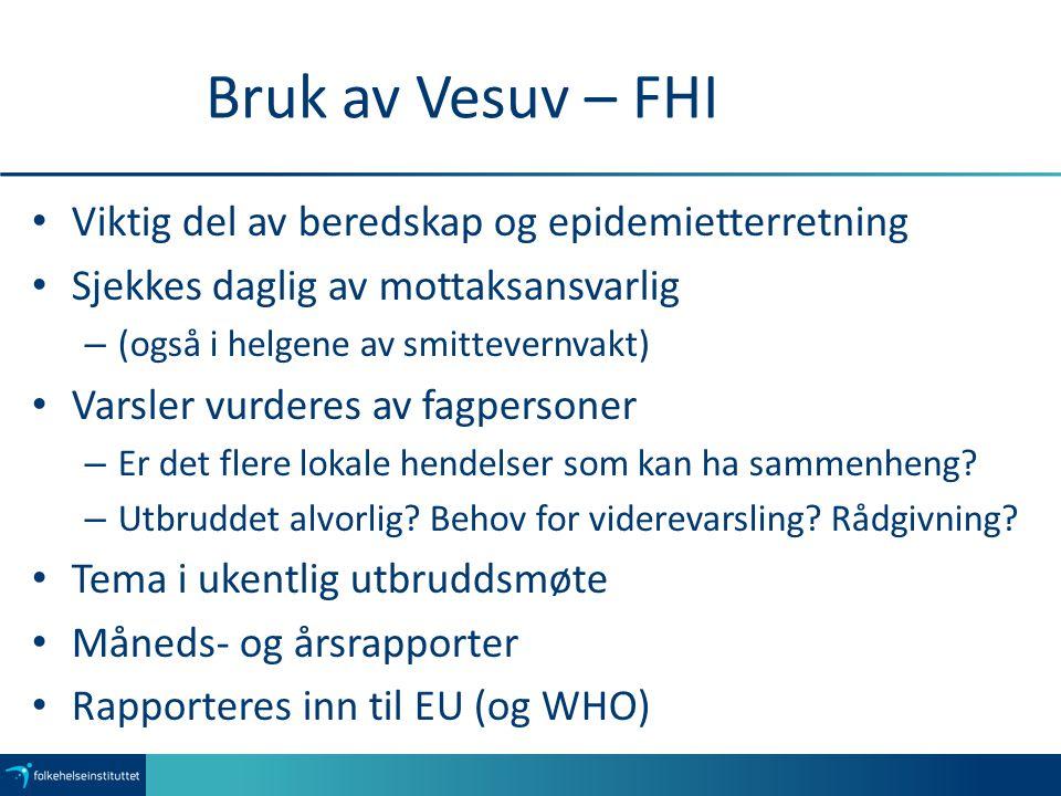 Bruk av Vesuv – FHI Viktig del av beredskap og epidemietterretning