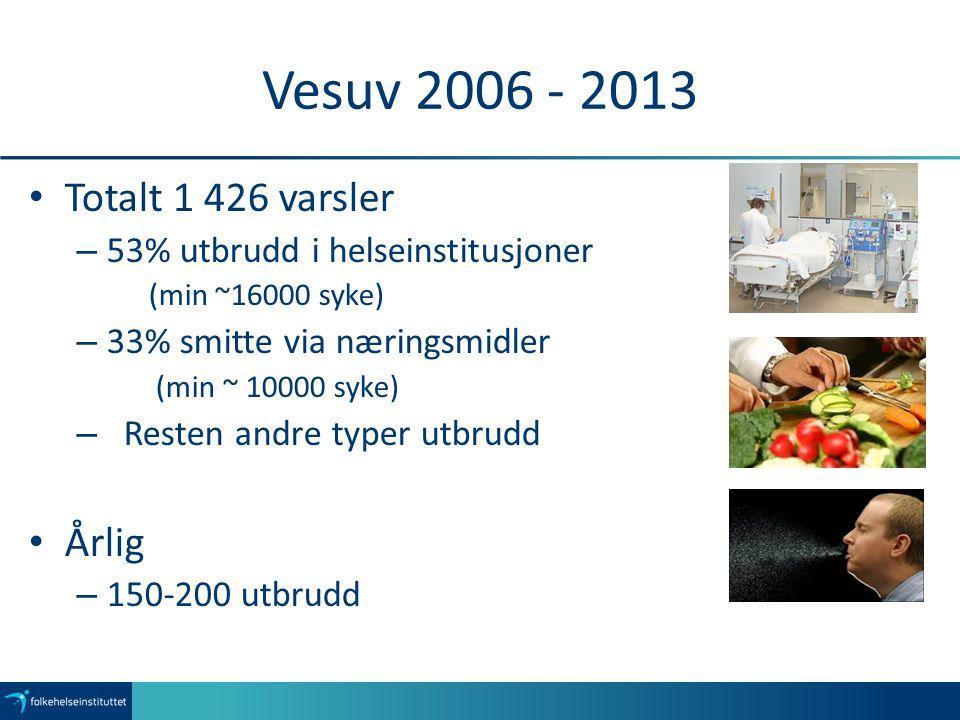 Vesuv 2006 - 2013 Totalt 1 426 varsler Årlig