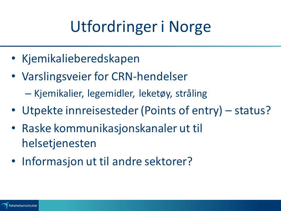 Utfordringer i Norge Kjemikalieberedskapen