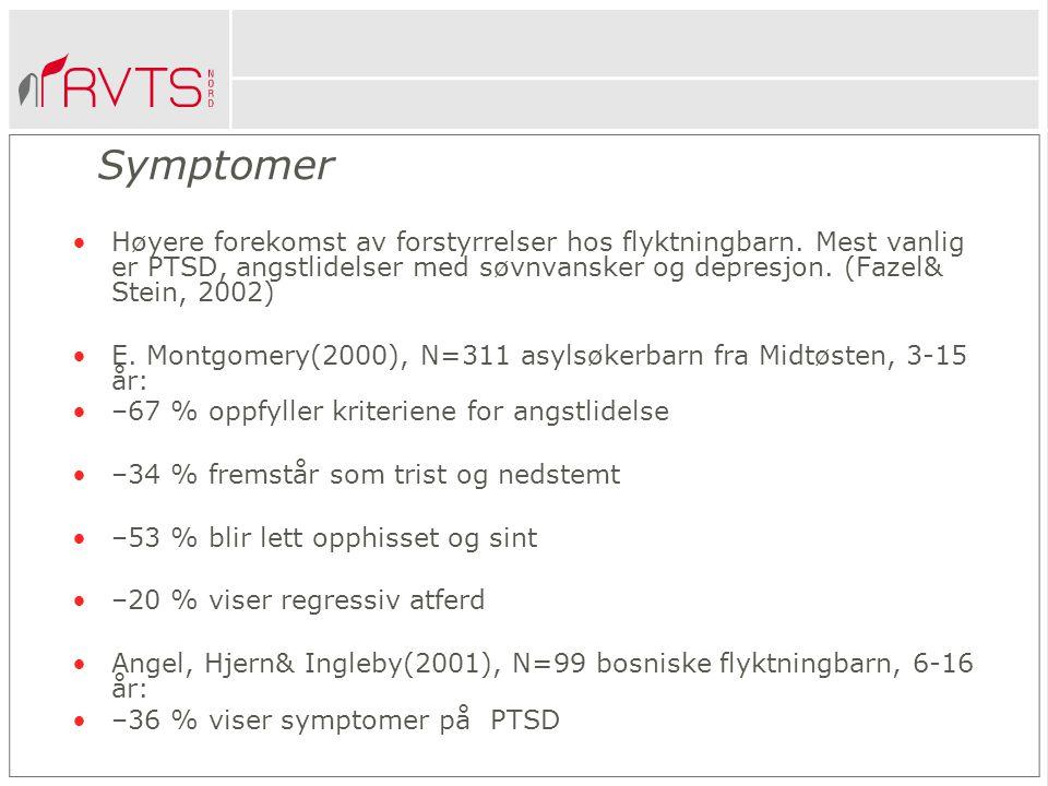 Symptomer Høyere forekomst av forstyrrelser hos flyktningbarn. Mest vanlig er PTSD, angstlidelser med søvnvansker og depresjon. (Fazel& Stein, 2002)