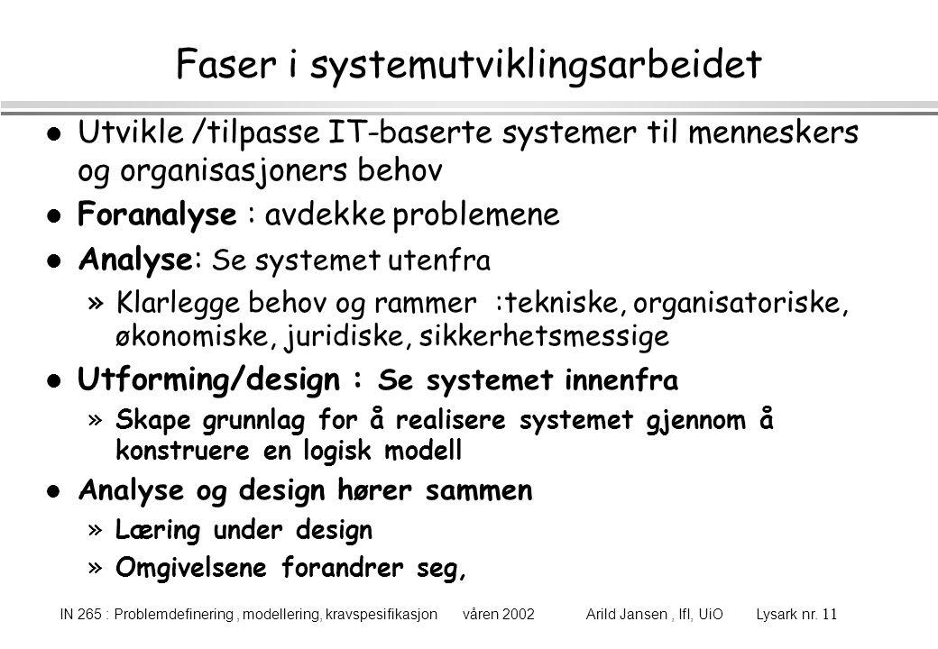 Faser i systemutviklingsarbeidet