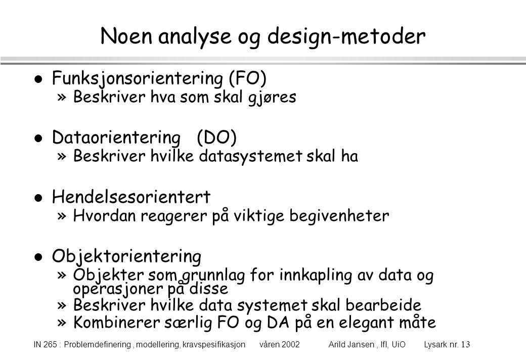 Noen analyse og design-metoder