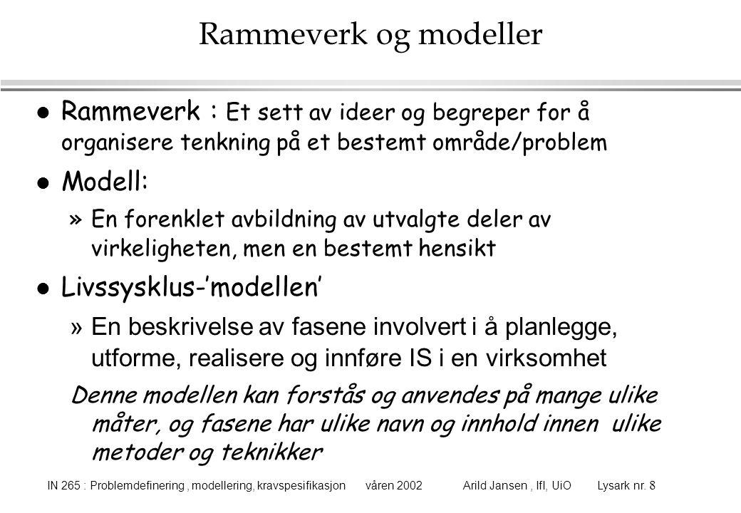 Rammeverk og modeller Rammeverk : Et sett av ideer og begreper for å organisere tenkning på et bestemt område/problem.