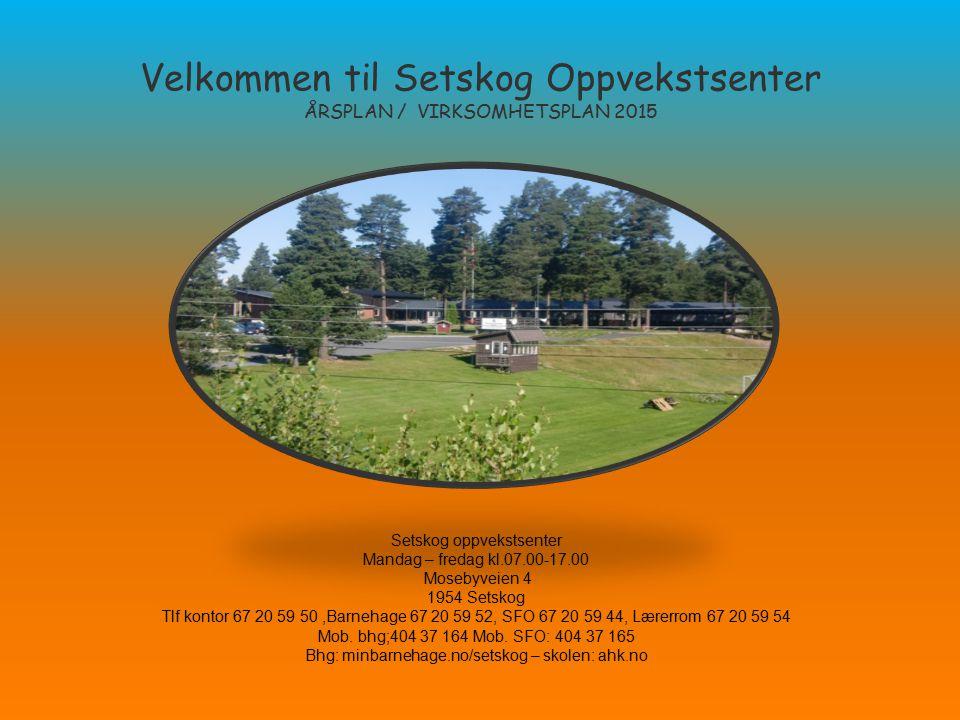 Velkommen til Setskog Oppvekstsenter ÅRSPLAN / VIRKSOMHETSPLAN 2015