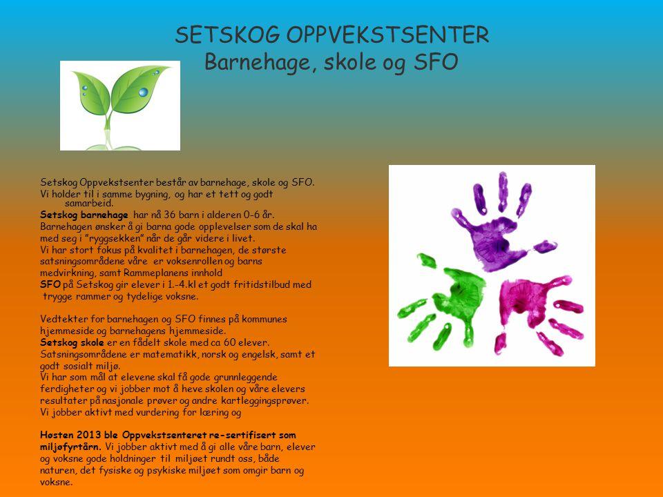 SETSKOG OPPVEKSTSENTER Barnehage, skole og SFO