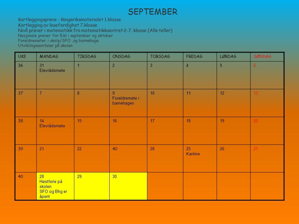 SEPTEMBER Kartleggingsprøve – Ringeriksmaterialet 1