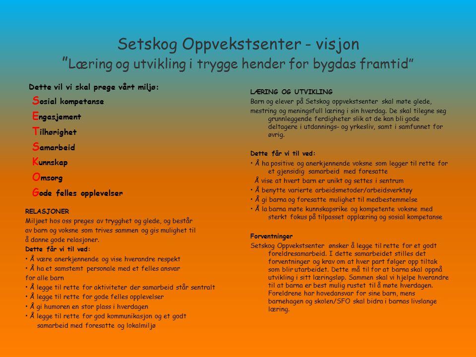 Setskog Oppvekstsenter - visjon Læring og utvikling i trygge hender for bygdas framtid