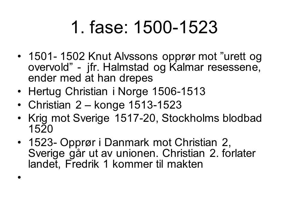 1. fase: 1500-1523 1501- 1502 Knut Alvssons opprør mot urett og overvold - jfr. Halmstad og Kalmar resessene, ender med at han drepes.