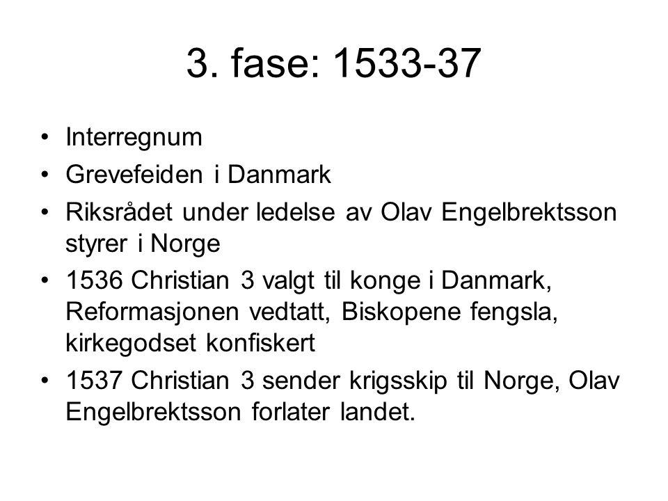 3. fase: 1533-37 Interregnum Grevefeiden i Danmark