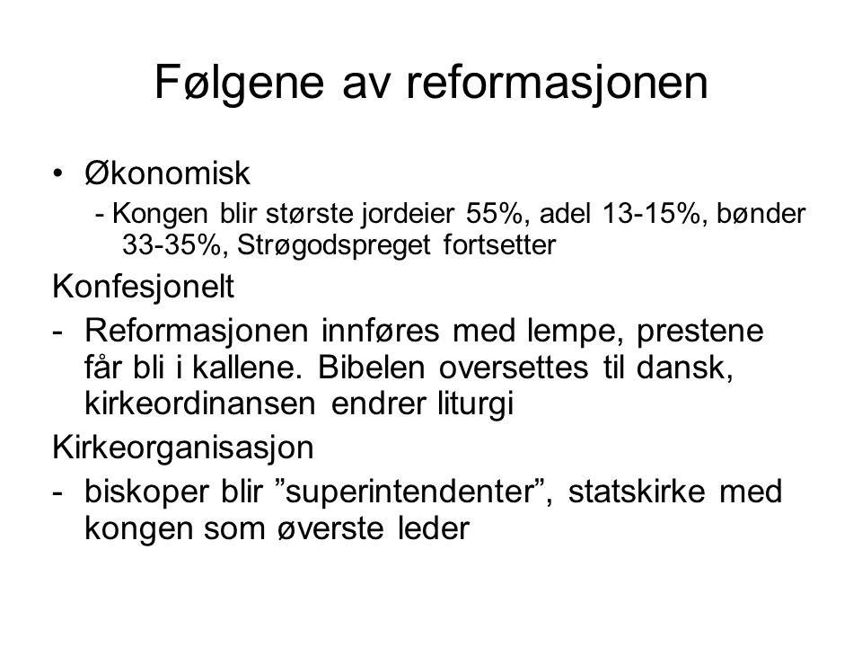 Følgene av reformasjonen