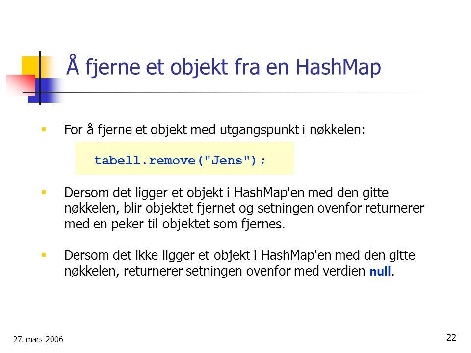 Å fjerne et objekt fra en HashMap