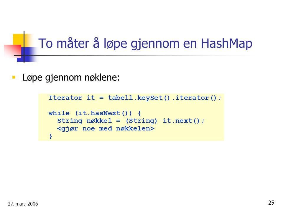 To måter å løpe gjennom en HashMap