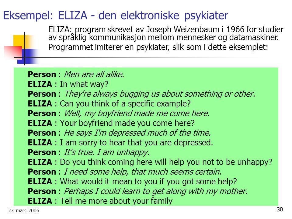 Eksempel: ELIZA - den elektroniske psykiater