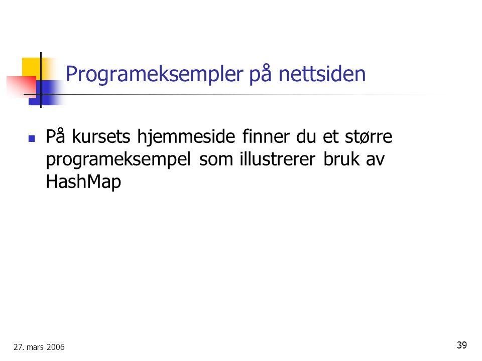 Programeksempler på nettsiden