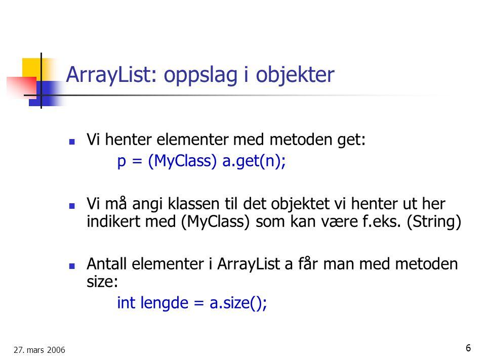 ArrayList: oppslag i objekter