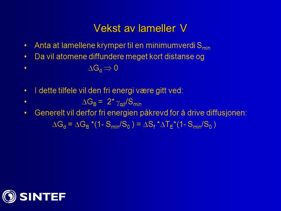 Vekst av lameller V Anta at lamellene krymper til en minimumverdi Smin