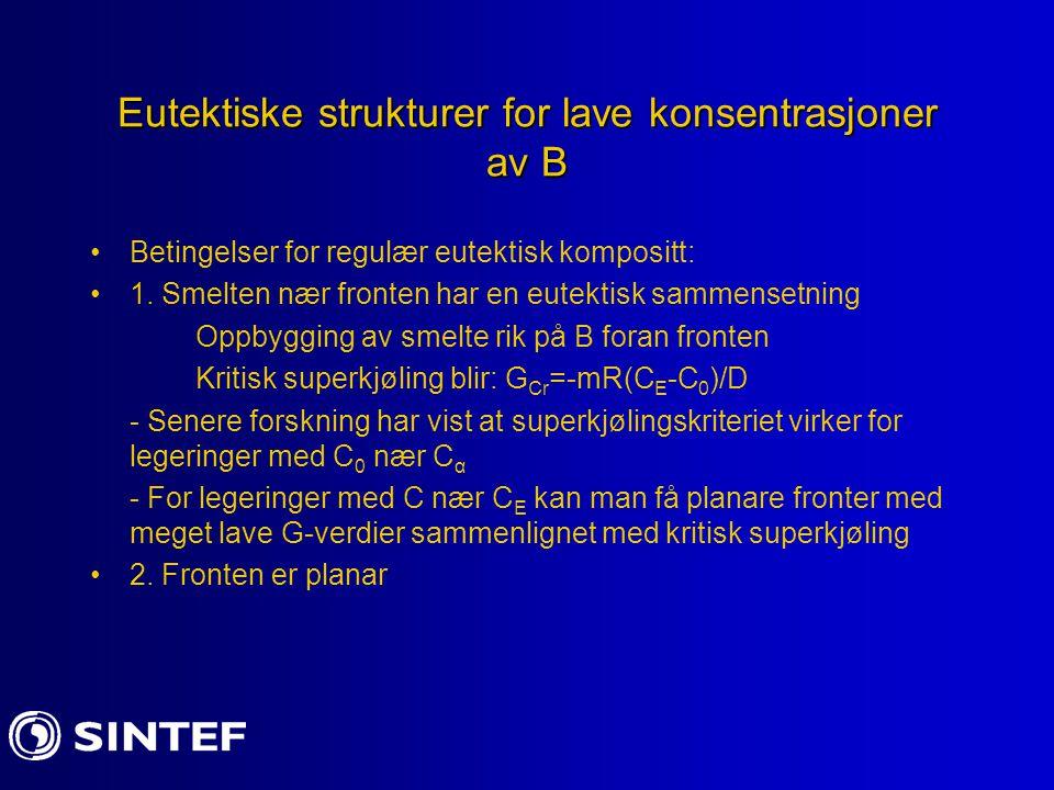 Eutektiske strukturer for lave konsentrasjoner av B